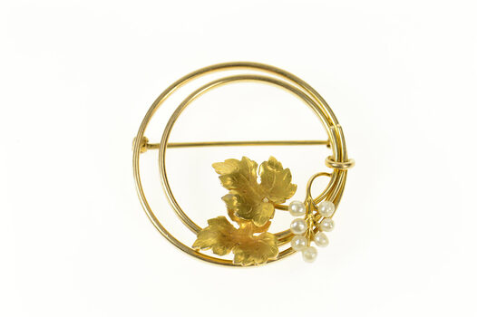 14K 1960's Pearl Maple Leaf Round Statement Yellow Gold Pin/Brooch