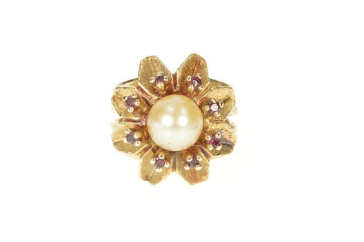 14K 1960's Pearl Ruby Flower Cluster Cocktail Yellow Gold Ring, Size 4.75