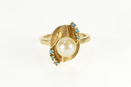 14K 1960's Pearl Turquoise Leaf Cocktail Yellow Gold Ring, Size 4.25