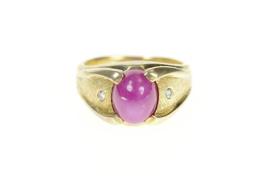 14K 1960's Retro Lindy Star Ruby Diamond Men's Yellow Gold Ring, Size 5.75