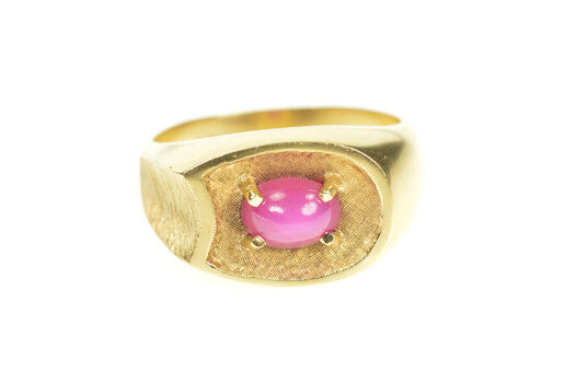 14K 1960's Retro Lindy Star Ruby Men's Statement Yellow Gold Ring, Size 10
