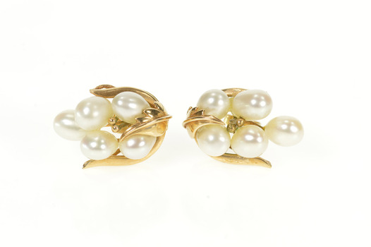 14K 1960's Retro Pearl Cluster Statement Yellow Gold Earrings