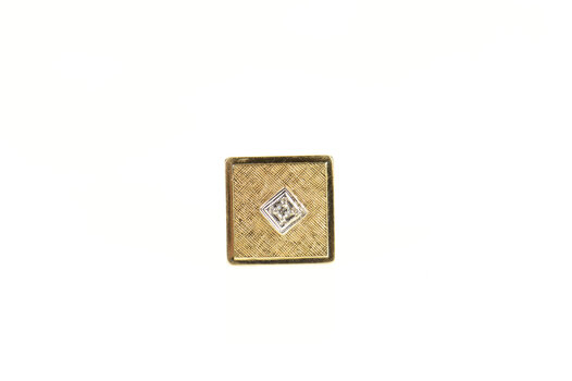 14K 1960's Squared Diamond Inset Lapel Yellow Gold Pin/Brooch
