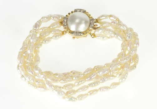 14K 1960's Tiered Pearl Strand Diamond Clasp Yellow Gold Bracelet 7""