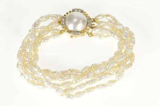 "14K 1960's Tiered Pearl Strand Diamond Clasp Yellow Gold Bracelet 7"""