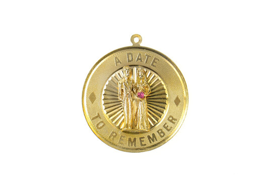 14K 1960's Wedding Day Date to Remember Yellow Gold Charm/Pendant