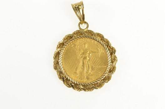 14K 1986 1/4 Oz $10 Eagle Coin Walking Liberty Yellow Gold Pendant