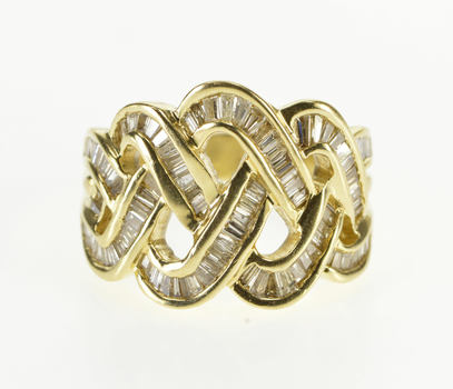 14K 2.00 Ctw Channel Inset Baguette Diamond Braid Yellow Gold Ring, Size 7