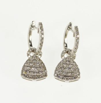 14K 2.00 Ctw Diamond Encrusted Hoop Dangle White Gold Earrings