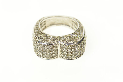 14K 2.02 Ctw Pave Diamond Heart Statement Band White Gold Ring, Size 8.75