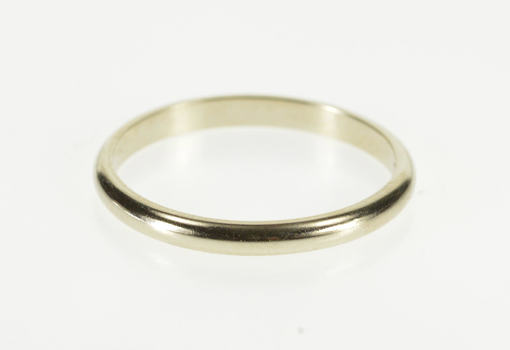 14K 2.0mm Classic Rounded Wedding Band White Gold Ring, Size 6.5