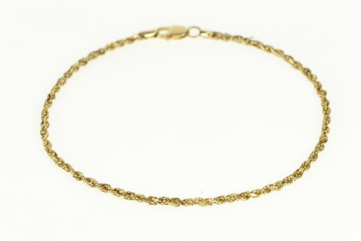 14K 2.0mm Rope Chain Classic Twist Link Yellow Gold Bracelet 7""