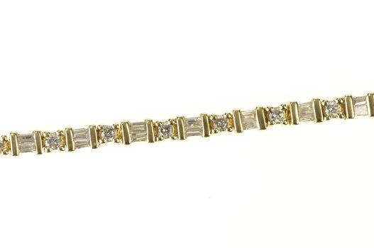 "14K 2.10 Ctw Round & Baguette Diamond Tennis Yellow Gold Bracelet 7.5"""