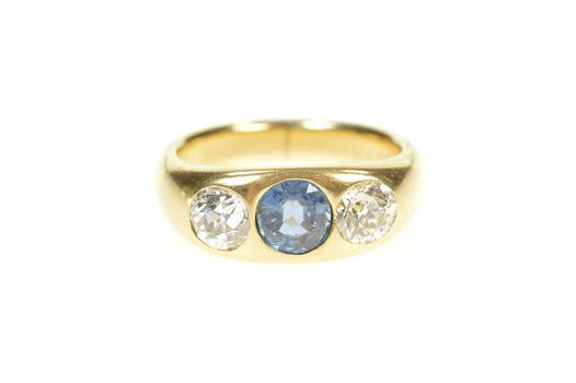 14K 2.10 Ctw Victorian Sapphire Diamond Yellow Gold Ring, Size 7.25