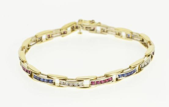 "14K 2.15 Ctw Ruby Sapphire Diamond Inset Link Yellow Gold Bracelet 7.25"""