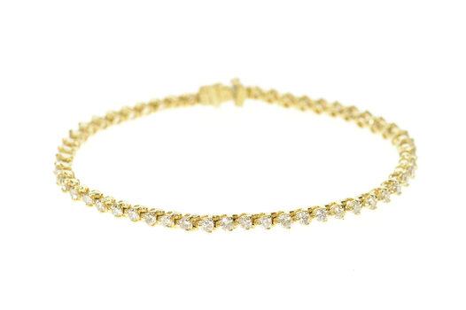 "14K 2.16 Ctw Classic Diamond Inset Tennis Yellow Gold Bracelet 7"""