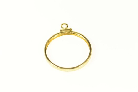 14K 21.8mm 1/24 Oz Mexican Coin Holder Yellow Gold Charm/Pendant