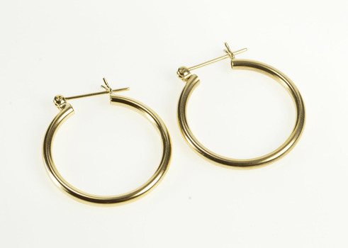 14K 2.1mm Rounded Classic Simple Tube Hoop Yellow Gold Earrings
