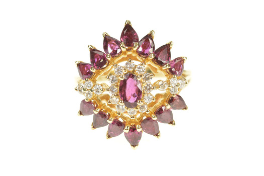 14K 2.32 Ctw Ruby Diamond Halo Pear Statement Yellow Gold Ring, Size 7.5