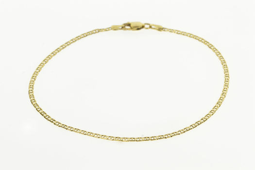 14K 2.3mm Anchor Link Fashion Chain Men's Anklet Yellow Gold Bracelet 9""