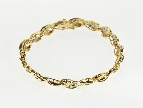 "14K 2.50 Ctw Diamond Channel Inset Braid Tennis Yellow Gold Bracelet 7.25"""