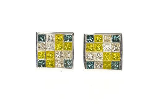 14K 2.56 Ctw Yellow Blue & White Diamond Square White Gold Earrings