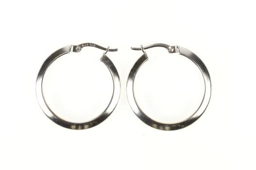 14K 25.7mm Ridged Design Classic Hoop White Gold Earrings