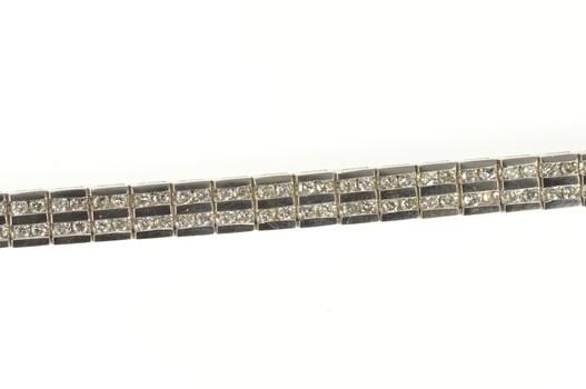 "14K 2.62 Ctw Diamond Channel Squared Tennis White Gold Bracelet 7"""