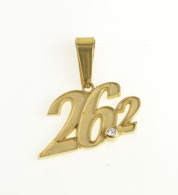 14K 26.2 Marathon Number Miles Diamond Runner Yellow Gold Charm/Pendant