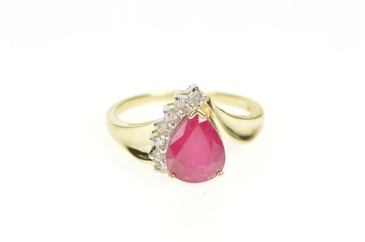 14K 2.69 Ctw Pear Natural Ruby Diamond Engagement Yellow Gold Ring, Size 7.25
