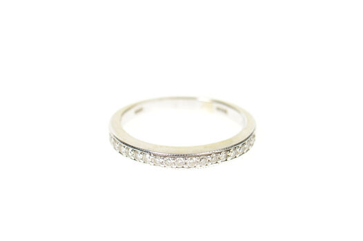 14K 2.6mm Classic Simple Diamond Wedding Band White Gold Ring, Size 5.75