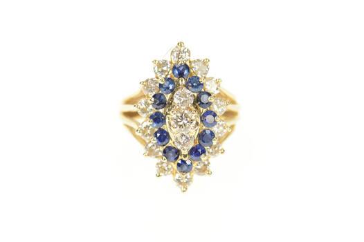 14K 2.86 Ctw Diamond Sapphire Halo Cocktail Yellow Gold Ring, Size 6.25