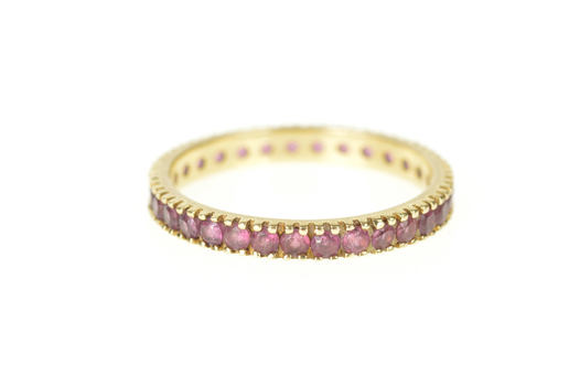 14K 2.8mm Ruby Infinity Eternity Wedding Band Yellow Gold Ring, Size 8