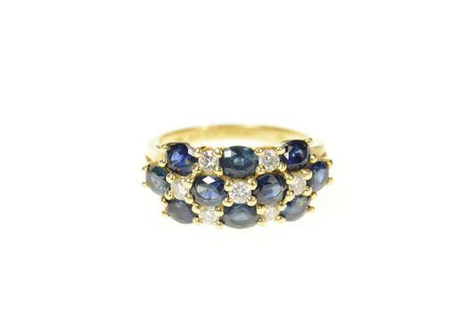 14K 2.92 Ctw Sapphire Diamond Checkered Statement Yellow Gold Ring, Size 6.5
