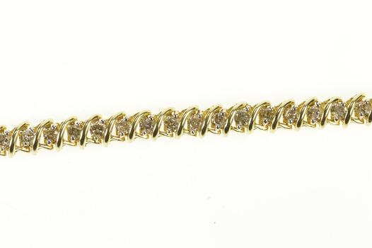 "14K 2.94 Ctw Wavy Link Diamond Tennis Yellow Gold Bracelet 7.25"""