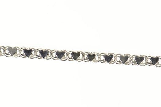 """14K 2.9mm Retro Heart Symbol Link Chain White Gold Bracelet 7.25"""""""