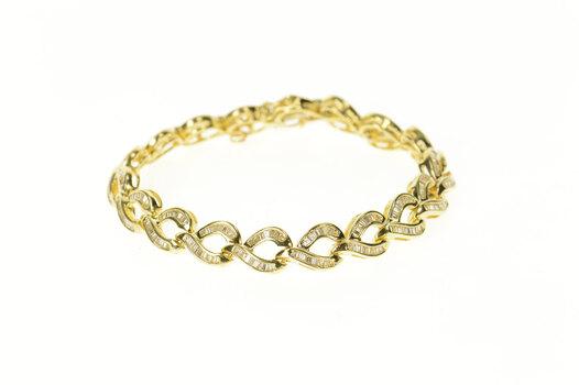 "14K 3.00 Ctw Baguette Wavy Braid Link Tennis Yellow Gold Bracelet 6.5"""