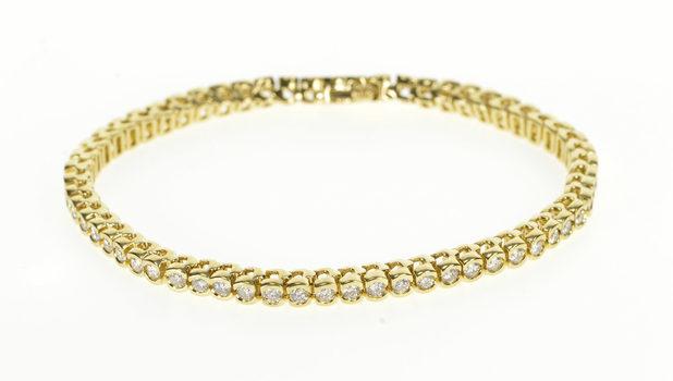 "14K 3.00 Ctw Ornate Diamond Round Link Tennis Yellow Gold Bracelet 7.25"""