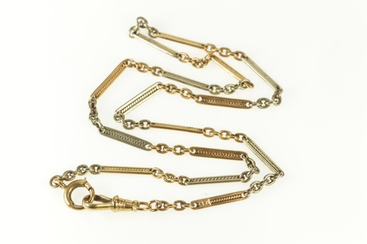 "14K 3.0mm Bar Link Statement Pocket Watch Chain Yellow Gold Necklace 16.25"""