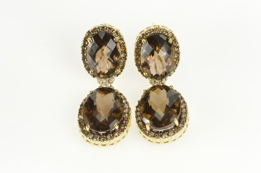 14K 31.10 Ctw Smokey Quartz Diamond Halo Dangle Yellow Gold Earrings