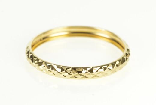 14K 3.1mm Lattice Checkered Pattern Men's Band Yellow Gold Ring, Size 12