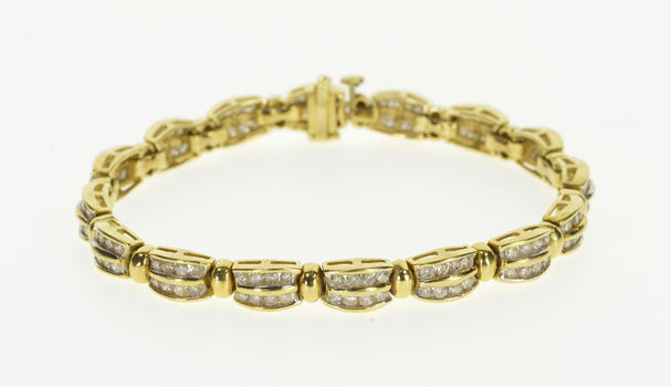 """14K 3.20 Ctw Rounded Tiered Channel Set Diamond Yellow Gold Bracelet 7"""""""