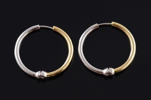14K 32.4mm Two Tone Tube Hoop White Gold EarRings