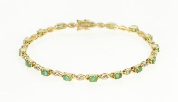 "14K 3.30 Ctw Oval Emerald Diamond Accent Yellow Gold Bracelet 7.5"""