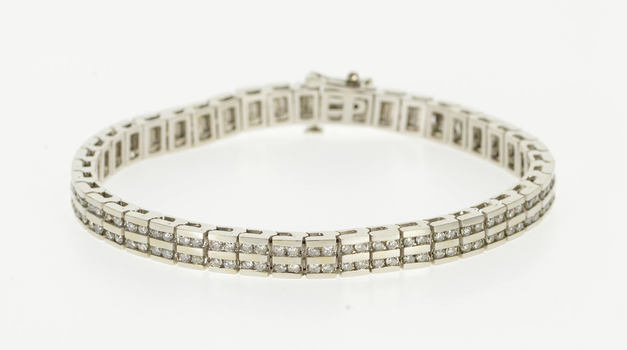 """14K 3.50 Ctw Diamond Two Tiered Channel Inset White Gold Bracelet 7"""""""