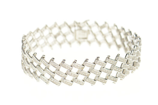 14K 3.60 Ctw Diamond Layered Bar Link Chain White Gold Bracelet 7.25""