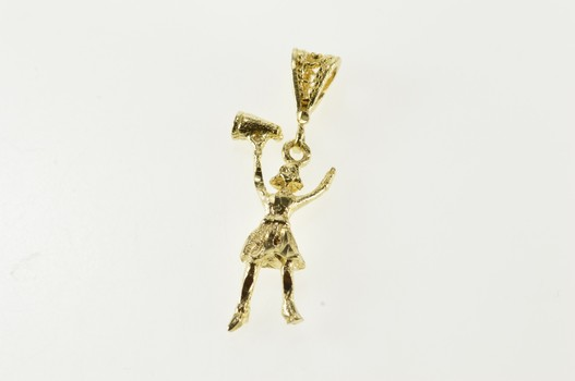 14K 3D Cheer Cheerleader Girl Yellow Gold Charm/Pendant