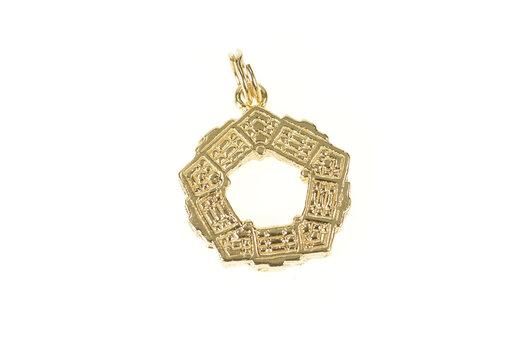 14K 3D Pentagon Washington DC DOD Landmark Yellow Gold Charm/Pendant