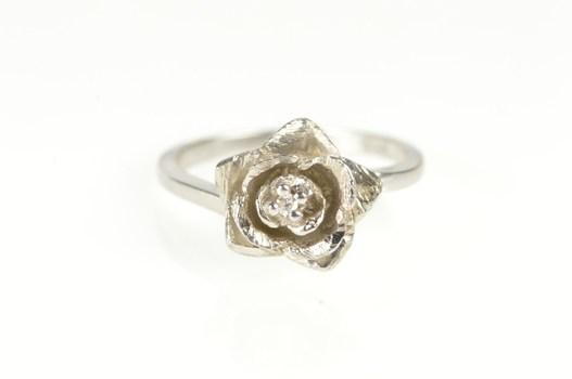 14K 3D Rose Flower Diamond Promise Engagement White Gold Ring, Size 6