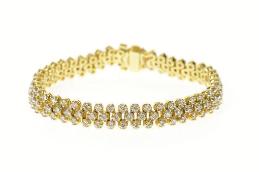 "14K 4.05 Ctw Diamond Lattice Encrusted Tennis Yellow Gold Bracelet 7.25"""
